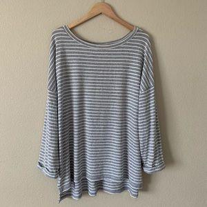 Ava & Viv Tunic Sweater Striped Gray and White